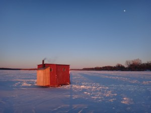 Our ice-fishing shack, on the Saskatchewan River