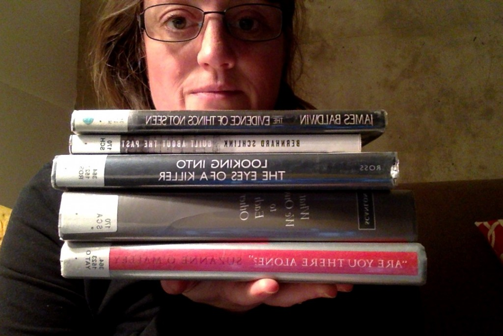 Me, with library books for novel research.