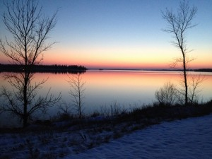 The Winnipeg River, near where Donna used to live, the night before freeze-up.