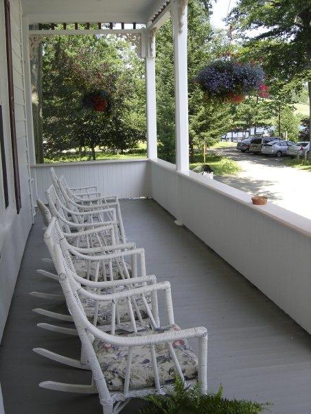 Rocking chairs: Lily Dale hotel verandah