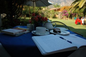Writing at a Tepoztlan cafe during retreat in Mexico